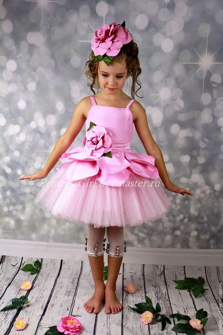 Купить или заказать Костюм для девочки Цветок в интернет магазине на Ярмарке Мастеров. С доставкой по России и СНГ. Срок изготовления: 10-15 дней. Материалы: сатин, фатин блестящий. Размер: 86-134
