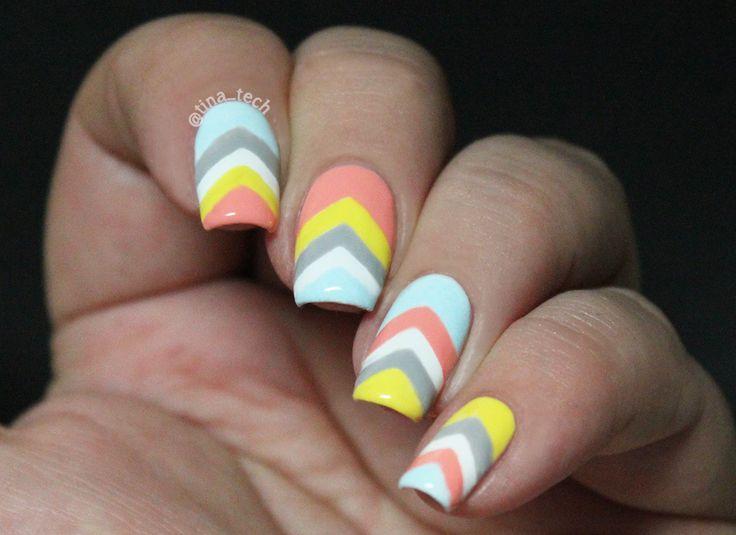 chevron pastel nail art