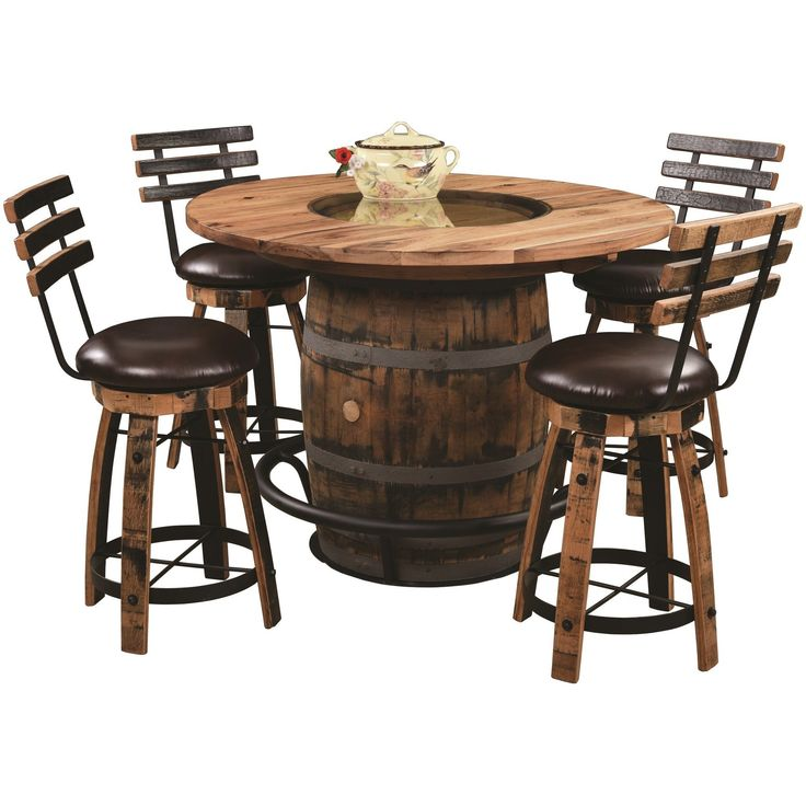 Whiskey Barrel Table And Chairs, Bourbon Barrel Furniture