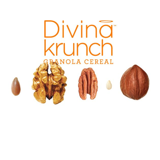 Divina Krunch: Flaxseeds, walnuts, pecans, sesame and hazelnuts  For those who love seeds and nuts but don't have bird-like appetites, we present Flaxseeds, walnuts, pecans, sesame and hazelnuts granola cereal from Divina Krunch. With no artificial colours or flavours, this low-sodium cereal constitutes a good source of fibre and omega-3 fatty acids.