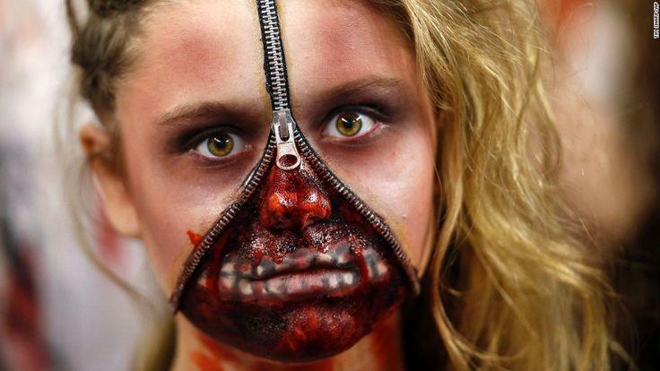 Dallas Cowboys cheerleader wearing zombie makeup