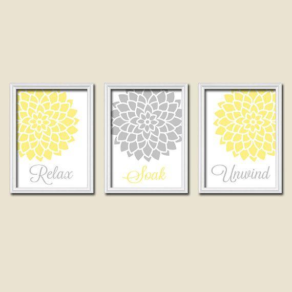 Relax Soak Unwind Yellow Grey Gray Flourish Dahlia Flower Artwork Set of 3 Bathroom Prints WALL Decor ART Picture Match