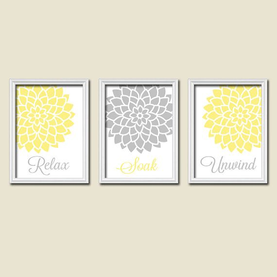 Bathroom Decor With Yellow Walls : Yellow turquoise bathroom wall art canvas or prints