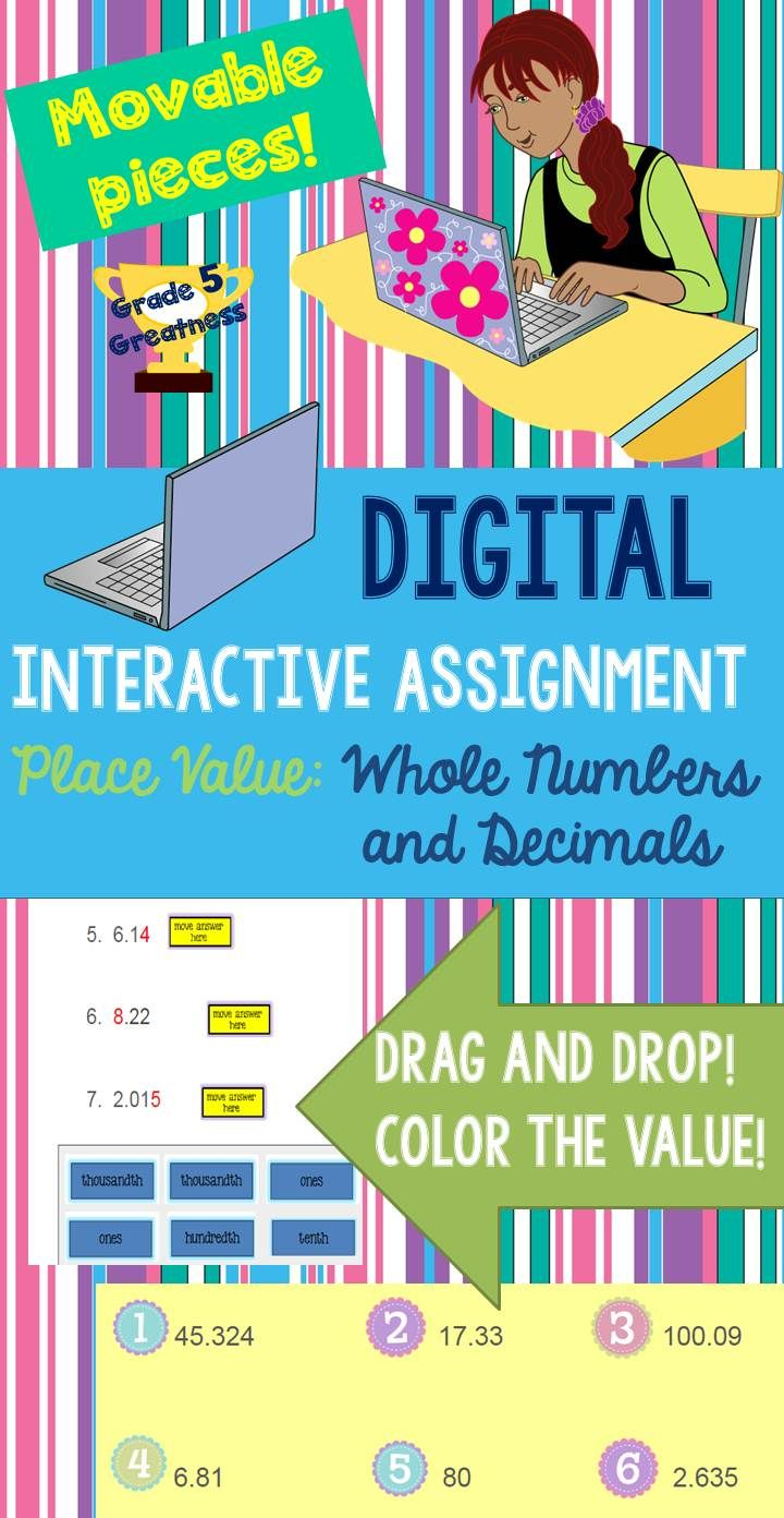 Google Interactive Assignment with Place Value of Decimals and Whole Numbers!  Perfect for fourth, fifth, or sixth grade students in a 1:1 classroom or with access to Google Drive.