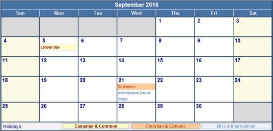September 2016 Calendar with Holidays