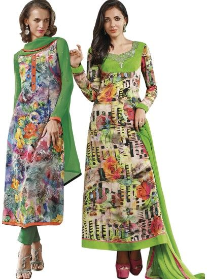 Spectacular Printed Crepe Straight Cut Style Multi Colour Combo Suit D.No.- 6547,6551