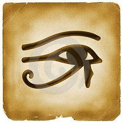 The Eye of Horus  Symbol of Protection, Wisdom and Health. Also an Egyptian Symbol Designed to resemble the eye of a falcon, this symbol is also called the Eye of Ra. Horus, also known as the sun god Ra, was a falcon-headed sky god from ancient Egypt. He is associated with vitality, health and regeneration