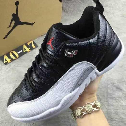 new product a858a addf6 Real air jordan 12 low white black