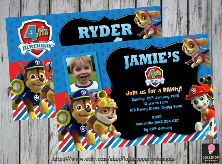 PAW PATROL Invitation - Personalised - Printable - Invites - Digital Print - DIY - Birthday ...