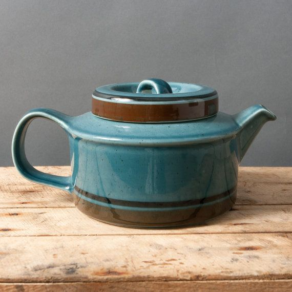 arabia teapot with lid blue brown vintage meri by northvintage