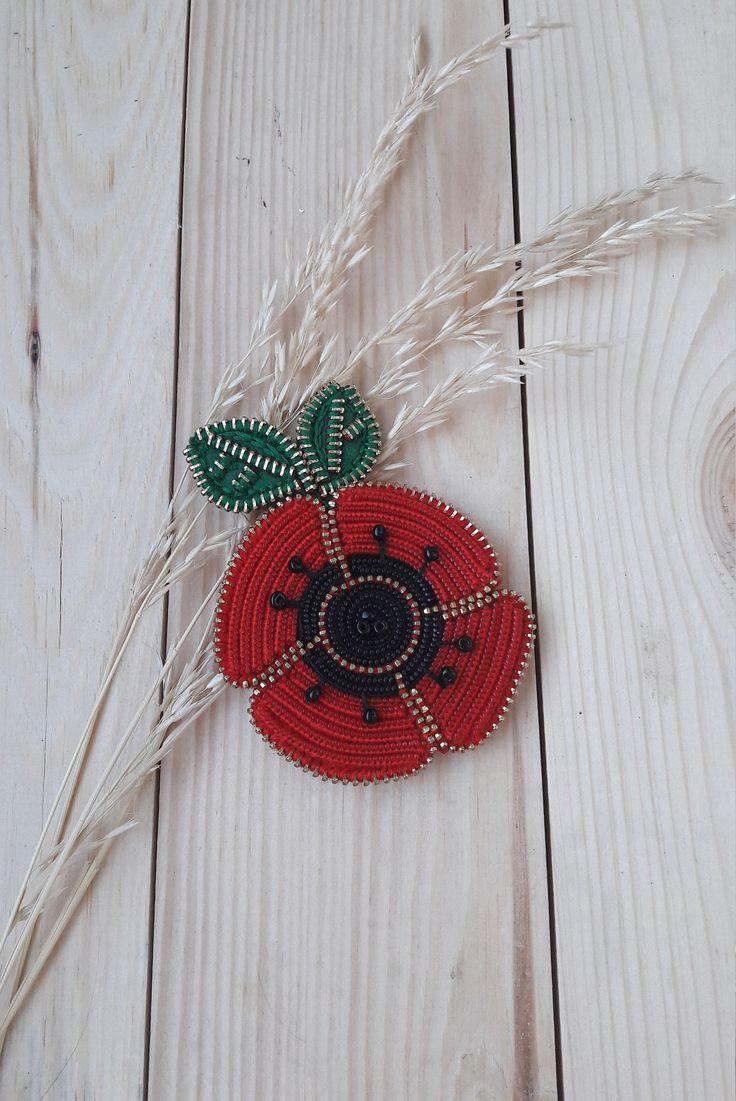 Red poppy brooch. Red flower pin. Unique Poppy jewelry. Zipper brooch. Zipper jewelry. Original zipper brooch. Red Flower Jewelry by ZASTIBKA on Etsy