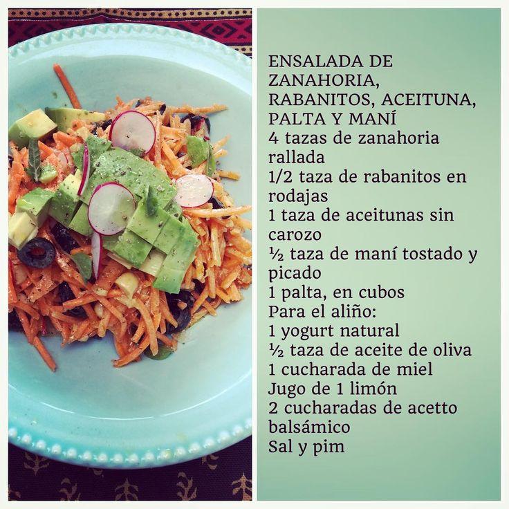 Receta Ensalada de Zanahoria, rabanitos, palta y Aceitunas @planv_13c