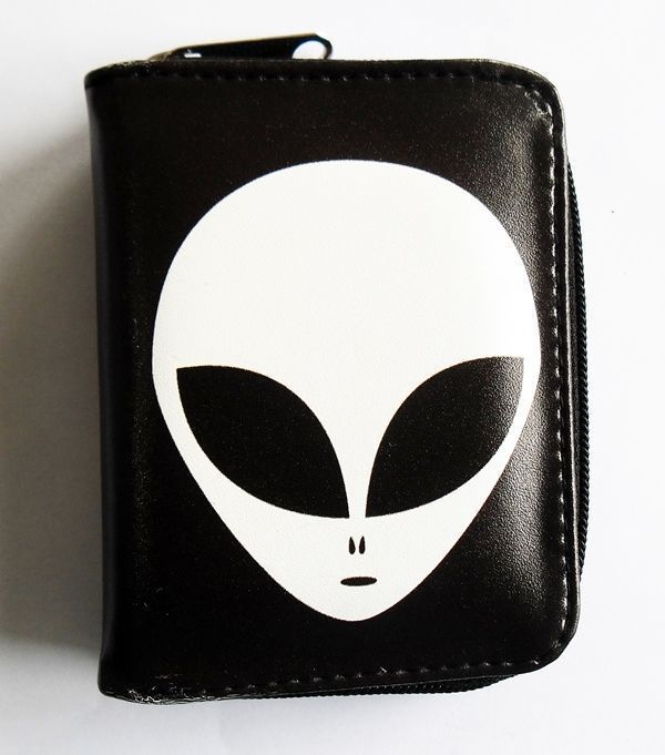 Alien White Face Wallet Zippered Pouch Pleather Vegan Wallet Birthday Gift #Unbranded #Envelope