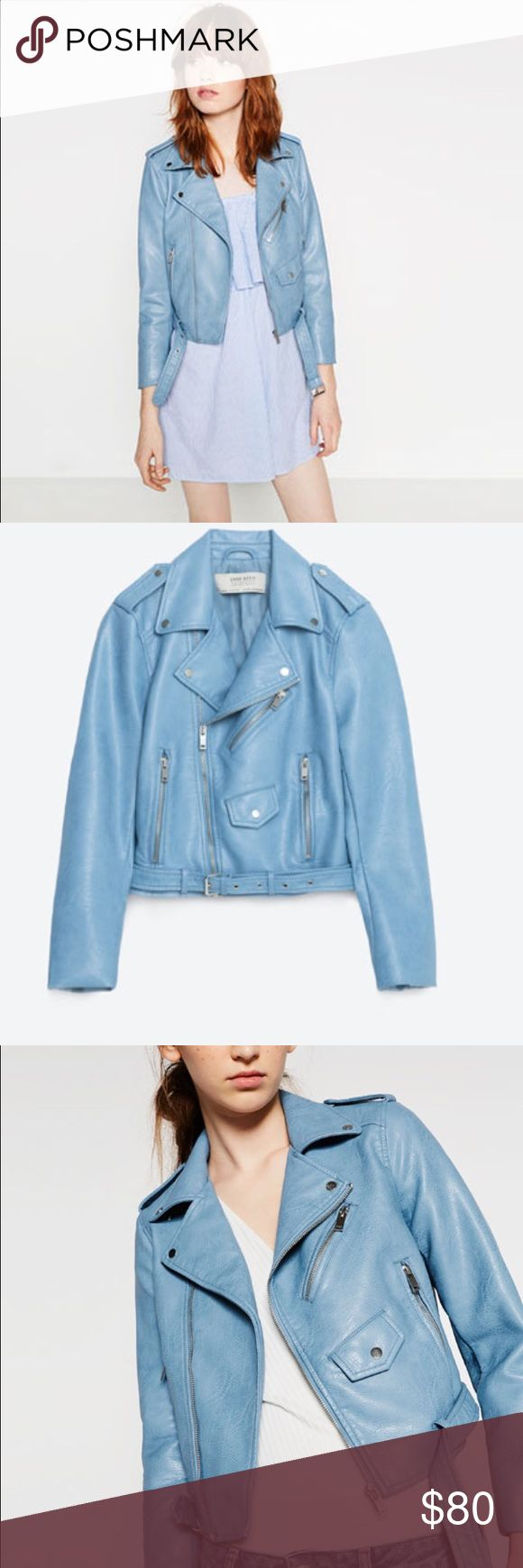 NWOT Zara Leather Jacket Gorgeous NWOT sky blue faux leather jacket from Zara❣ medium but fits on the small-medium side Zara Jackets & Coats