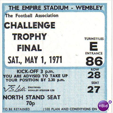 Hillingdon Borough v Telford Utd 01/05/1971 FA Trophy Final Football Ticket Stub