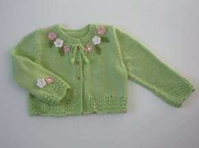 This adorable cardigan/sweater was hand knitted in luxuriously soft yarn. Color: Key Lime SIZE: Fits 4 - y.o. Baby Girl. ** READY TO SHIP ** Please also see measurements below. Product Measurements were taken using Childrens size (based on childs height in inches and centimeters ) CARDIGAN Actual measurements are for 4 y.o. : Cardigan Chest ( laid flat ) : 13 inches (33cm) Back Length: 12.5 inches (32cm) - length from back of neck to bottom. Sleeve Length: 9.5 inches (24cm) - underar...
