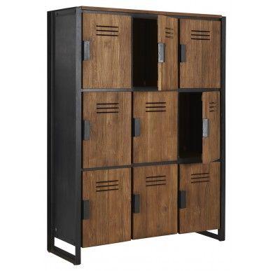 Antraciet kast en houten deurtjes, 3 breed