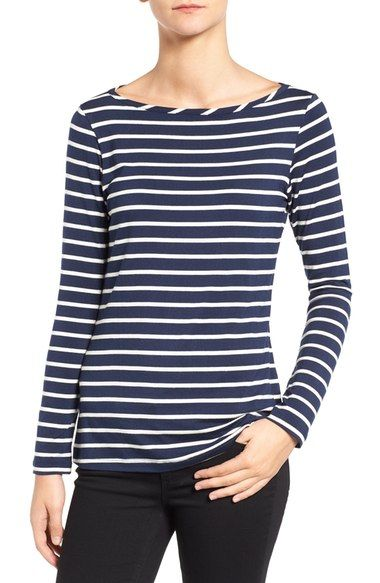 Love this brand and cut, but would like it in white. Amour Vert 'Francoise' Nautical Long Sleeve Top available at #Nordstrom