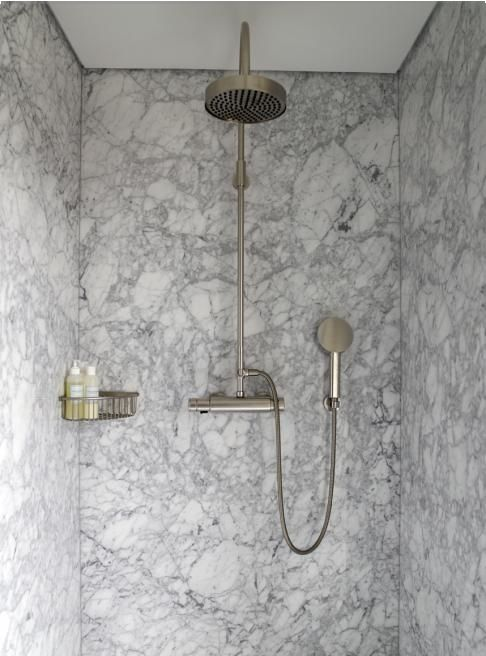 Solid Marble Shower Walls Are Much Easier To Clean Than Subway Tiles With  Grout Lines.