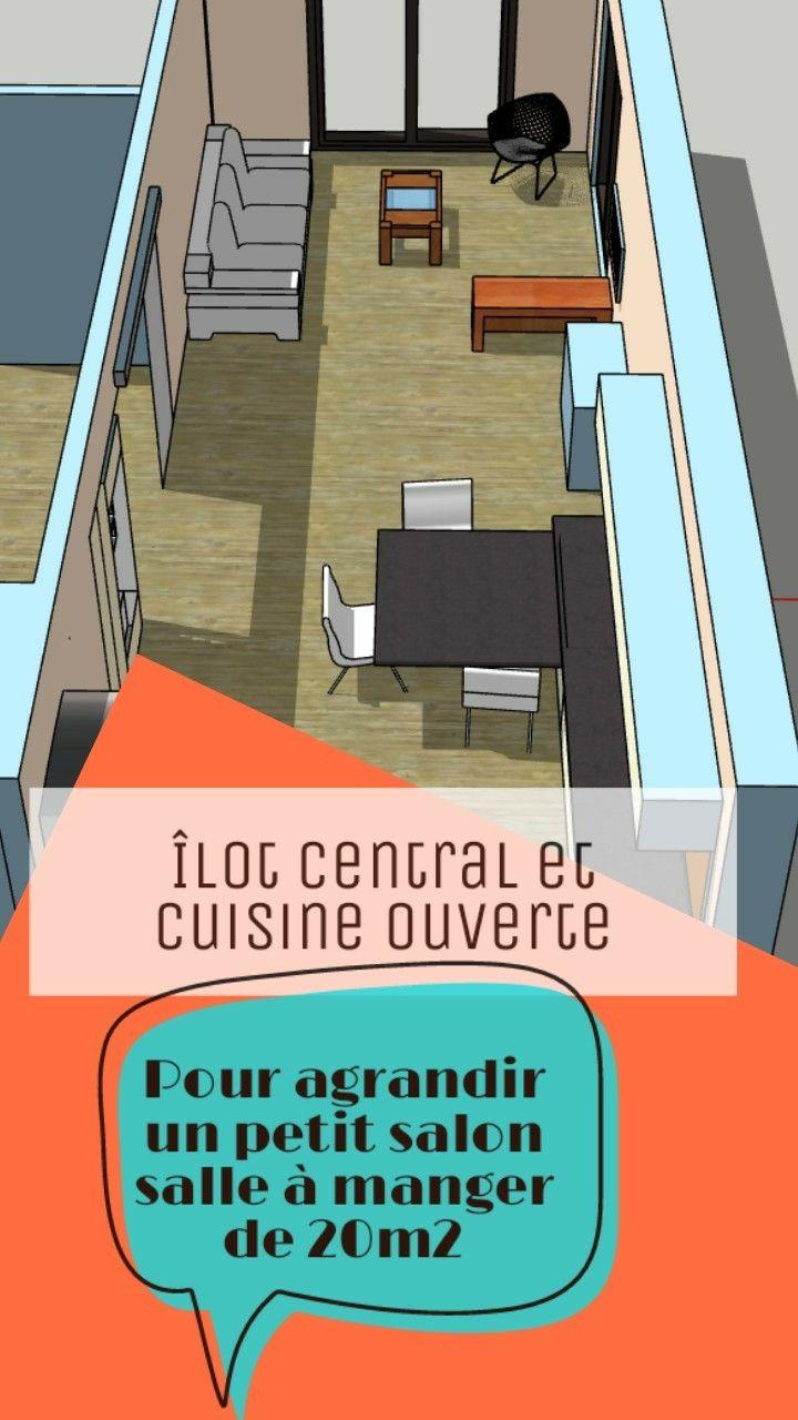 Îlot central et cuisine ouverte  Aménagement petit salon