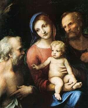 Sacra Famiglia con San Girolamo Hampton Court. 1515. Era nelle collezioni di Vincenzo I Gonzaga