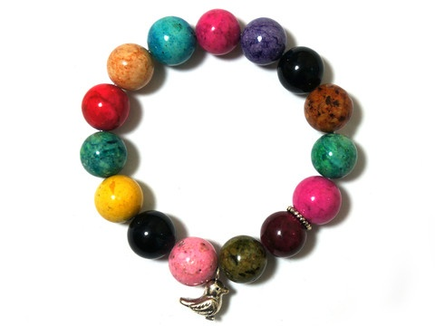 Multicolored Fossil Stretch Elastic Bracelet with Bird charm