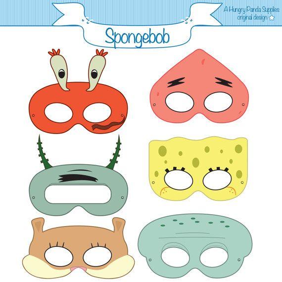 SpongeBob SquarePants Inspired Character Printable Masks on Etsy, $3.26 AUD