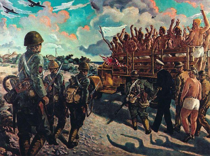 """""""The Wake Island Marines Surrender"""" painting by Yasushi Matsuzaka 1942"""