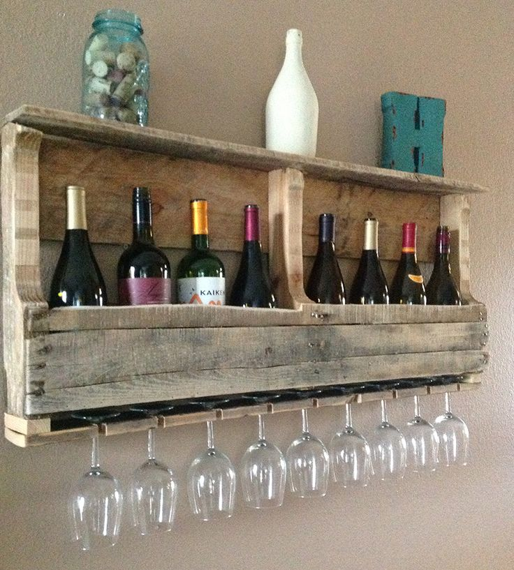 Large Salvaged Wood Wine Rack with Shelf | Only salvaged, worn and weathered pallet wood was used to buil... | Wall Shelves & Ledges