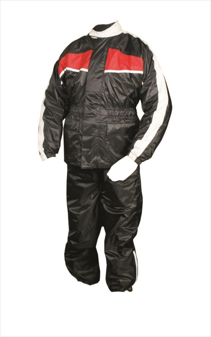 Mens Black and Red Motorcycle Rain Suit with Reflective Stripe by Allstate Leather. http://www.mymotorcycleclothing.com/