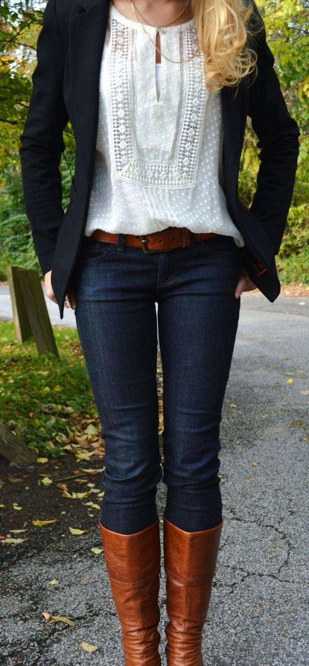 Dark jeans & jacket/cardi, white lacy peasant top, saddle tan boots & belt.