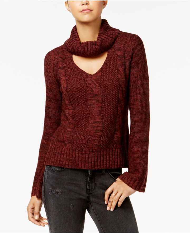 American Rag Juniors' Bell-Sleeve Cable-Knit Turtleneck Sweater, Created for Macy's