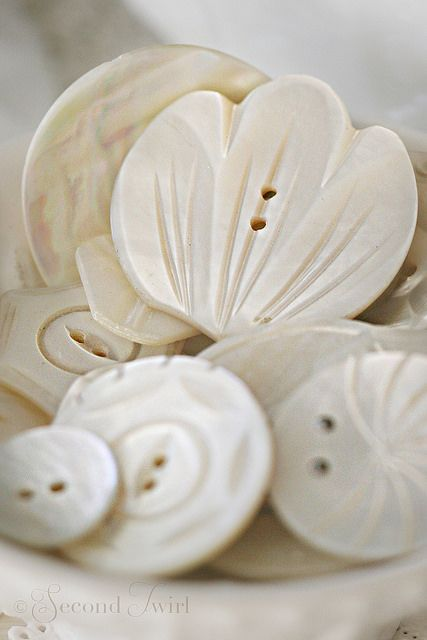 Fancy Vintage Carved MOP Buttons