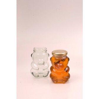 Borcan 185 ml ursulet sticla cu palarie   Borcane pt cadou marturii nunta