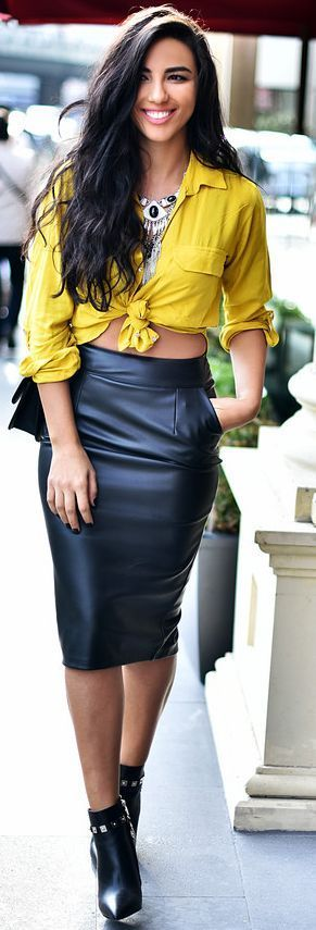 Yellow And Black Leather Fall Inspo by Duygu Senyurek