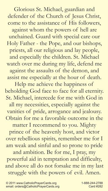 Prayer to St Michael the Archangel - New