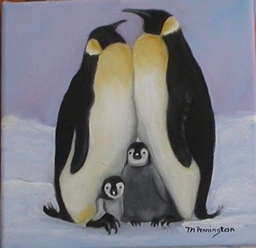 Penguin Family Original Oil Painting By Artfulinteriors On
