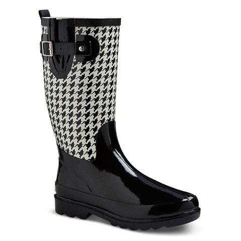 Women's Western Chief Rain Boot- Black and White Houndstooth