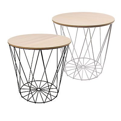 Tisch Design Beistelltisch Drahtkorb Metall mit Deckel Weiß Schwarz Ø40cm
