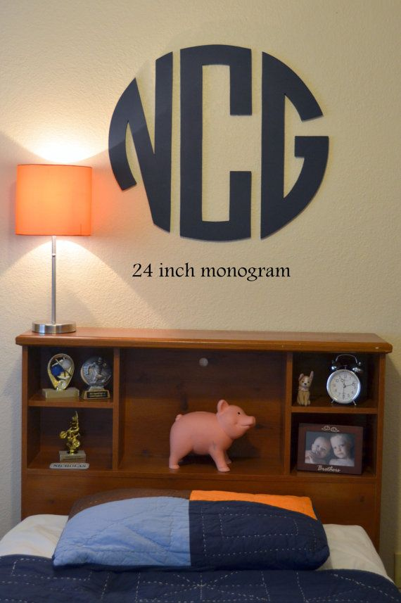 24 Inch Wooden Monogram Circle  3 Letters by TheSpottedZebras, $35.00