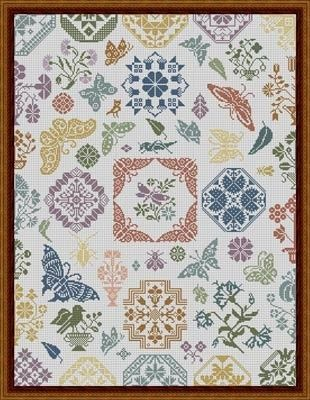 Butterfly Quaker - Cross Stitch Pattern by Stickideen von der Wiehenburg Model stitched on your choice of 28 or 30 Ct linen with DMC floss (...