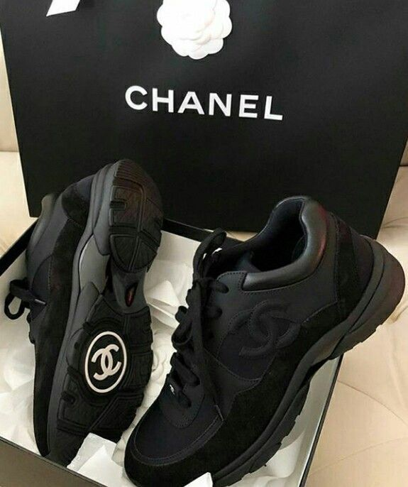 chanel all black sneakers