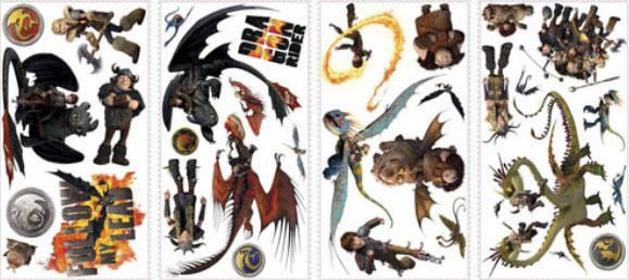 HOW TO TRAIN YOUR DRAGON 2 wall stickers 31 decals Hiccup Toothless Astrid decor  Wall Stickers, Decals and Stickers