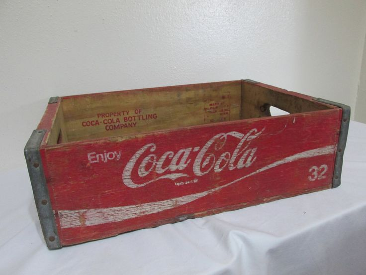 Wood Coke Case Rustic Primitive Red  and White Shabby by LuRuUniques on Etsy