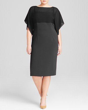 Marina Rinaldi Plus Silk Overlay Dress with Kimono Sleeves   Bloomingdale's