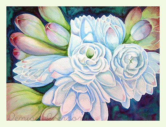 Tropical Flower White Blue and Green Painting - Original Watercolor 9x12 by Denise Iverson