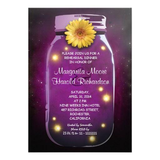 Fireflies and Purple Mason Jar Whimsical Rustic Rehearsal Dinner Invitations