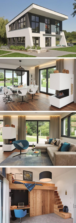 Skulpturales Architektenhaus mit Pultdach – Design Haus WeberHaus Massivhaus Ideen – HausbauDirekt.de