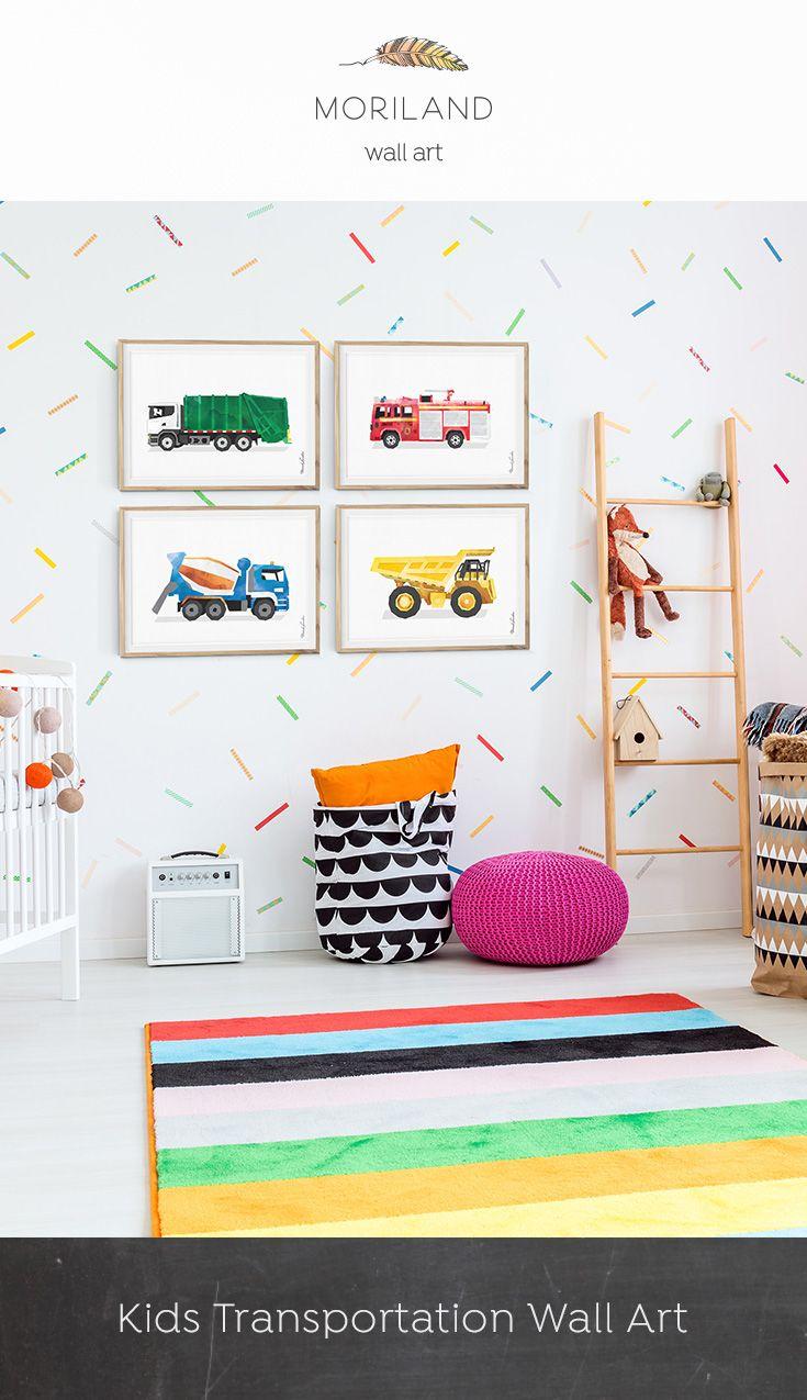 Garbage Truck Print Transportation Wall Art Toddler Boy Etsy Toddler Room Decor Kid Room Decor Big Boy Room Decor