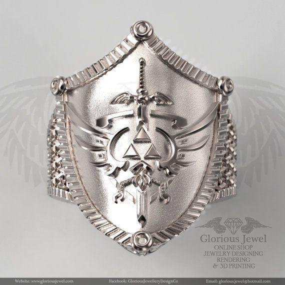 Glorious Zelda ring on Shield / 925 silver/ by GloriousJewelOnline